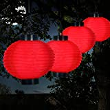 Weatherproof Outdoor Solar Chinese Lanterns LED with Rechargeable AAA Battery Set of 4, Red