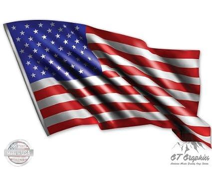 Amazon com : American Flag Waving - Large Size Vinyl Sticker