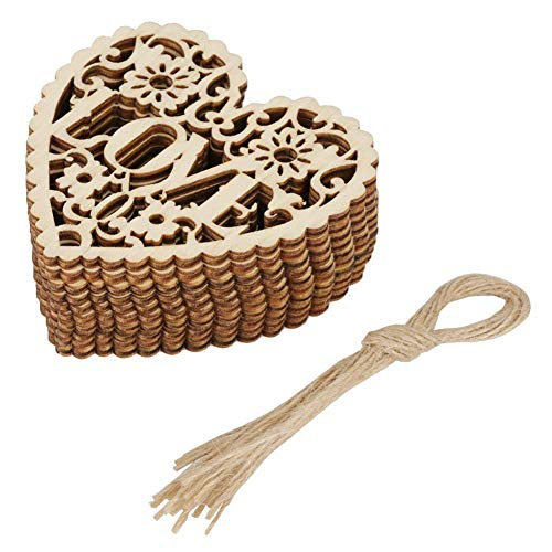 Akozon 10Pcs Hollow Wooden Craft Love Heart Shape Hanging Pendant Ornament