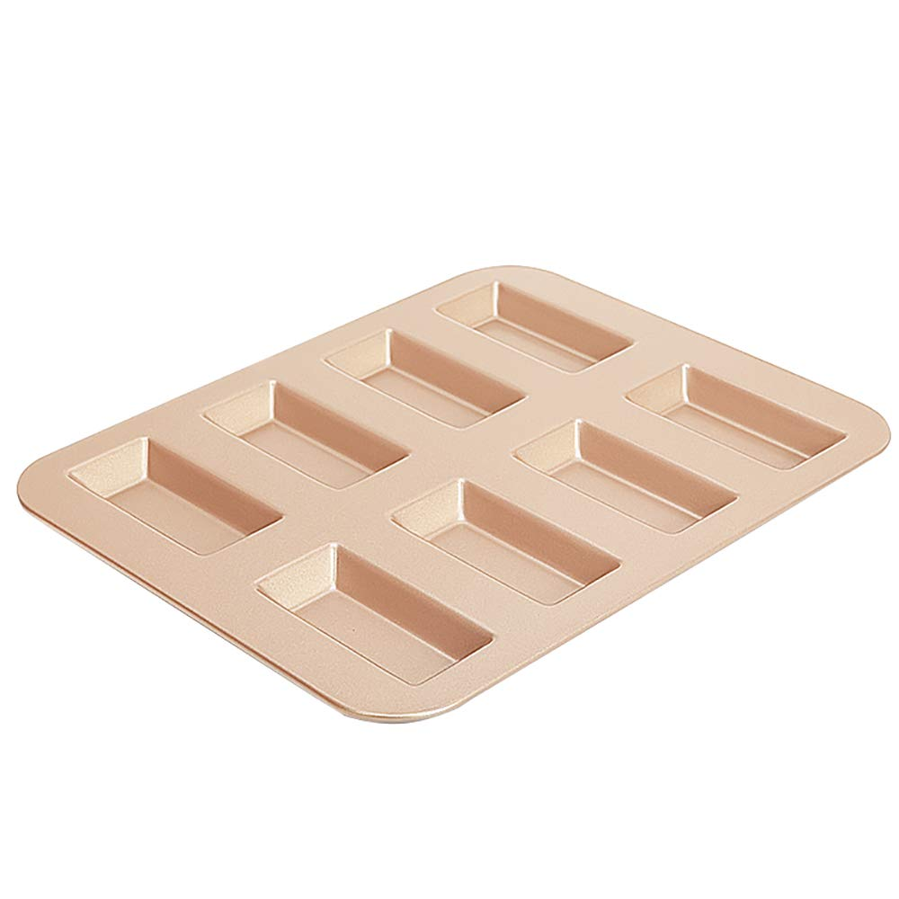 MyLifeUNIT Nonstick Financier Mold Pan, Carbon Steel Mini Loaf Pan with 8-Cavity KT18XH032