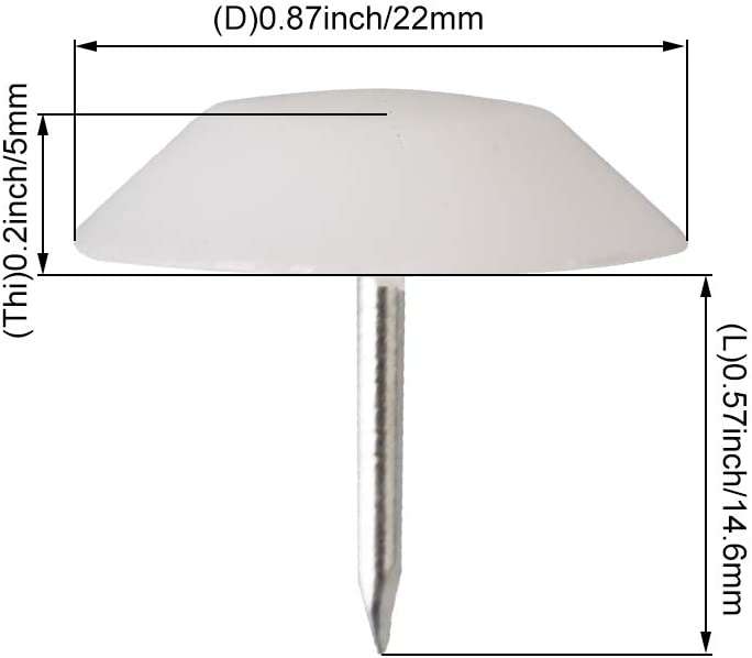 RDEXP 50x Nail-on Nylon Slider Curved Surface Pad 22mm Wood Leg Floor Protector