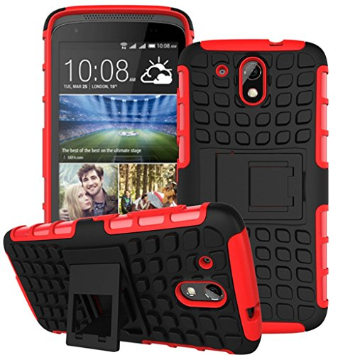 HTC Desire 526 Case, ANGELLA-M Built-in Kickstand Hybrid Armor Case Detachable 2in1 Shockproof Tough Rugged Dual-Layer Cover Case for HTC Desire 526 Red