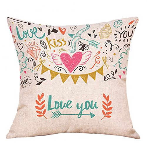 iYBUIA Cotton Linen Love Valentine's Day Fashion Throw Pillow Cases Cafe Sofa Cushion Cover Home Decor -