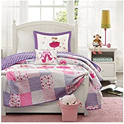 Mi-Zone Kids Twirling Tutu Twin Bedding for Girls Quilt Set - Purple Pink, Princess – 3 Piece Kids Girls Quilts – Ultra Soft Microfiber Quilt Sets Coverlet