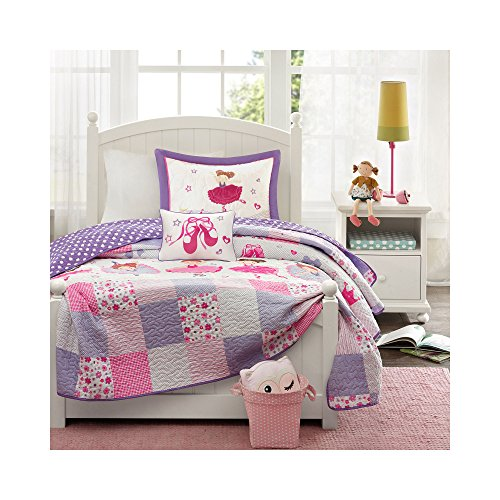 Mi Zone Kids Twirling Tutu Twin Bedding For Girls Quilt Set - Purple Pink , Princess – 3 Piece Kids Girls Quilts – Ultra Soft Microfiber Quilt Sets (Princess Twin Quilt)