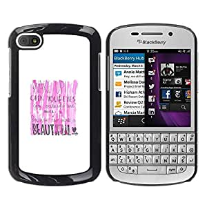 Paccase / SLIM PC / Aliminium Casa Carcasa Funda Case Cover para - Pink White Beautiful Lipstick Text Wake - BlackBerry Q10