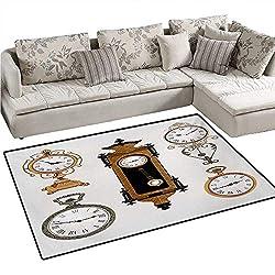 Clock Door Mats for Inside Vintage Styled Clocks Arrangement Old Fashioned Pattern in Antique Theme Design Bath Mat for Bathroom Mat 36x48 Umber and Beige