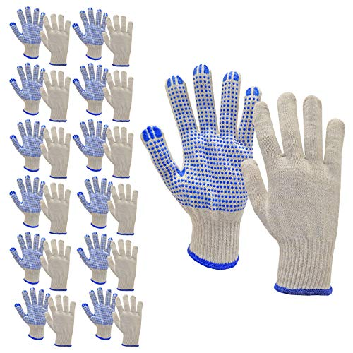 JORESTECH PVC-Dotted String Knit Gloves, Natural White/Blue, 12 Pairs (Size Large)