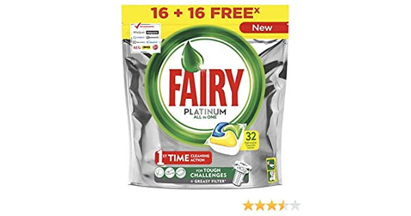 Fairy Platinum Limón Cápsulas de Lavavajillas, 32 Cápsulas: Amazon ...