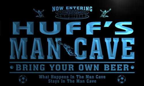 qd1467-b HUFF's Man Cave Soccer Football Bar Neon Beer Sign by AdvPro Name