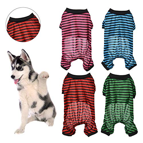 (CqmzpdiC Summer Thin Small pet Dog cat Pajamas New Striped Four-Leg Clothing Spring and Summer Clothing Teddy Jumpsuit Pajamas Coat Shirt Jacket Apparel Four Colors Clothes Rose Red)