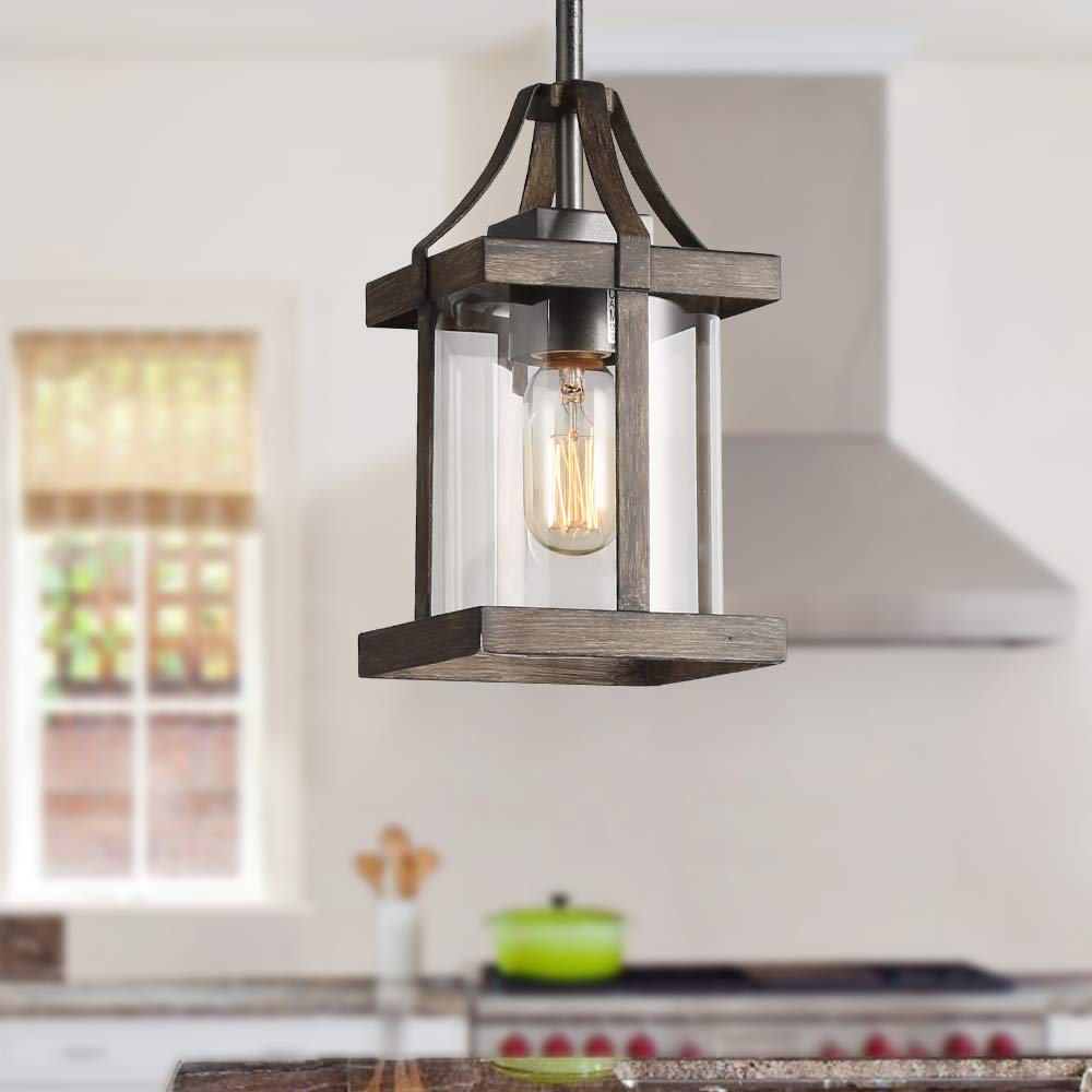LNC Pendant Lighting, Rust & Faux Wood Finish Chandelier with Glass Shade