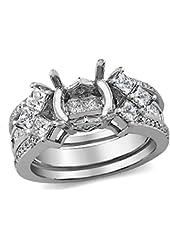 1.50 Carat (ctw) 14k White Gold Princess & Round Diamond Ladies Semi Mount Ring Set (No Center Stone)