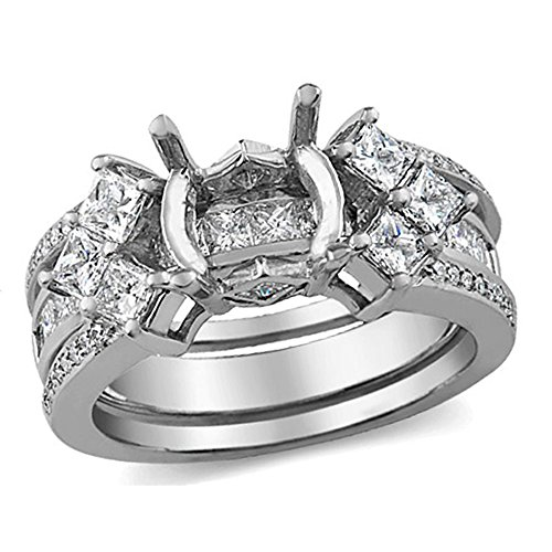 Dazzlingrock Collection 1.30 Carat (ctw) 14K Princess & Round Diamond Bridal Semi Mount Ring Set, White Gold, Size 7