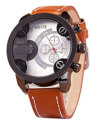 COCOTINA Men Fashion Watches Stainless Steel Leather Band Quartz Analog Sport Wrist Watch (White)