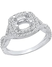 0.50 Carat (ctw) 14K Gold Round Diamond Swirl Semi Mount Bridal Engagement Ring 1/2 CT