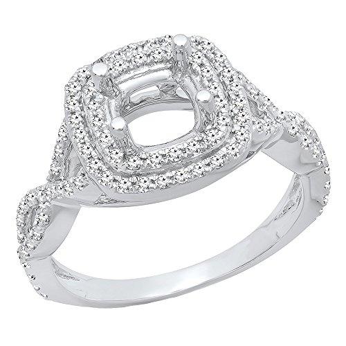 (Dazzlingrock Collection 0.50 Carat (ctw) 14K Round Diamond Semi Mount Bridal Engagement Ring 1/2 CT, White Gold, Size 7)
