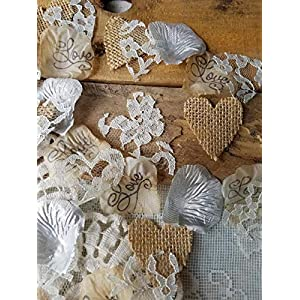 Burlap and Lace Rose Petals with Silver Artificial Petals, Rustic Wedding Decor, Table Scatter, by Burlap And Bling Design Studio(250pcs.) 111