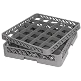 TrueCraftware - Commercial 25 Compartment Gray Stemware and Glass Rack Base and Extender - Double Deck - Dishwasher Rack - 20'' x 20'' x 5 3/4''