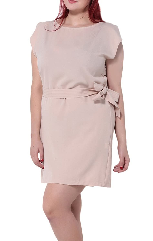 Bigood Plus Size kurz Armel Elegante Damen OL Stil Minikleid Freizeitkleid Sommerkleid Pink