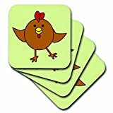 3dRose CST_10793_2 Cute Brown Chicken Dance with Green Background-Soft Coasters, Set of 8
