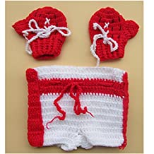 KAKA(TM) Lovely Newborn Crochet Knitted Baby Costume Baby Photo Photography Prop Clothes -Red Boxing Gloves Suit(3-12months)