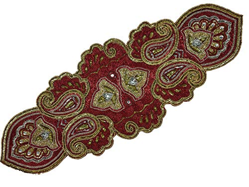 Linen Clubs Hand Made Beaded Table Runner 13x36 Inch in Mini Paisley Design Red Silver Gold Colors,Produced by Skilled Village Artisans in India - A Beautiful Complements to Dinner (Table Runner Christmas Beaded)