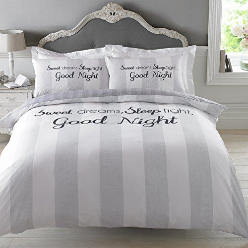 Dreamscene–Sweet Dreams funda de edredon juego de cama con funda de almohada, gris, Si