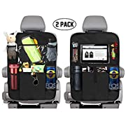 "#LightningDeal KNGUVTH Backseat Car Organizer Kick Mats, Car Seat Back Protectors with Clear 10"" Tablet Holder + 5 Storage Pockets Back seat Organizer for Kids Toy Bottle Drink Vehicles Travel Accessories (2 Pack)"