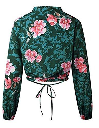 Longues Col Chemisier Manches Vert Croix Femmes Imprim Chemises Wrap en Floral V qX54qOw