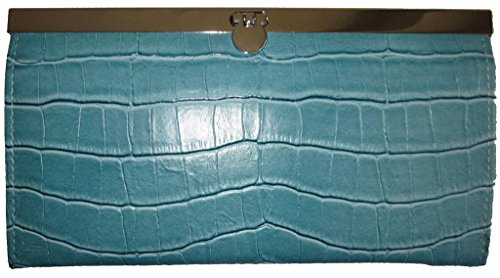 TOPCHOICE Women's Blue Crocodile Accordion Clutch Wallet
