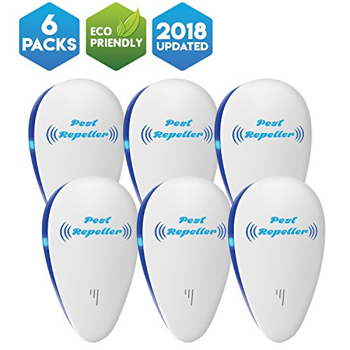 Logic Device - Pest Repeller Ultrasonic Pest Control Repellent Plug In - Electronic Mouse Repeller - Electric Mosquito Repellant - Human & Pet Safe for Ants, Spiders, Roaches, Fleas, Bed Bugs, Rats, Insects- 6 pack