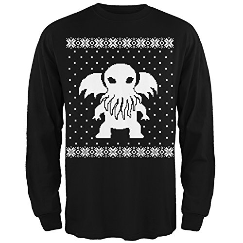 Old Glory Big Cthulhu Ugly Lovecraft Christmas Sweater Black Adult Long Sleeve - Large