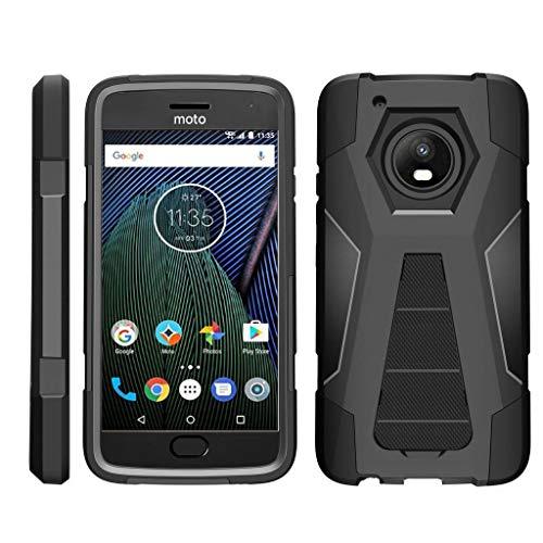 TurtleArmor | Compatible for Motorola Moto G5 Plus Case | Moto X (2017) [Dynamic Shell] Hybrid Dual Layer Hard Shell Kickstand Silicone Case - Black (Gs5 Case Custom)