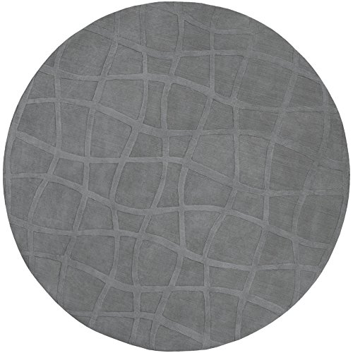 Surya Candice Olson Sculpture SCU-7506 Transitional Hand Loomed 100% Wool Gray 8' Round Area Rug ()
