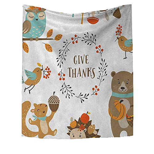 RuppertTextile Kids Thanksgiving Art Wall Decor Giving Thanks Being Grateful Cartoon Animals Grizzly Bear Wild Mushrooms Customed Widened Tapestry 70W x 93L INCH ()