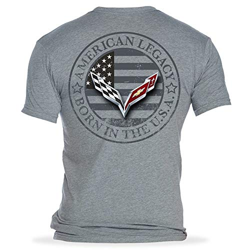 C7 Corvette Born in The USA American Legacy Men's T-Shirt/Heather Gray (Large)