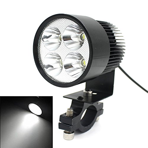TurnRaise Offroad 12W 4 LED Work Spot Light Fog Headlight for Motorcycle Motorbike w/ Mount/Clamp 2000LM Black (Fog Light Clamp compare prices)