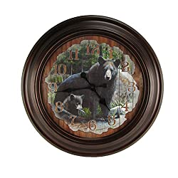LARGE Round Black Bear Big Huge Wood Wall Clock Rustic Hunting Cabin Lodge Decor