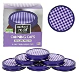 Mason Jar Lids - Decorative Canning Caps Fit Regular Mouth Mason Jars - Gingham Design - Pack of 6
