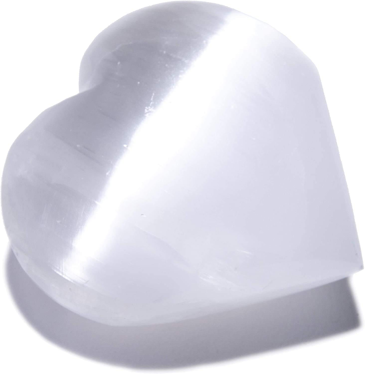 KALIFANO Selenite Heart Worry Stone with Healing & Calming Effects - High Energy Selenita/Satin Spar Love Palm Stone Used for Cleansing and Protection (Information Card Included)