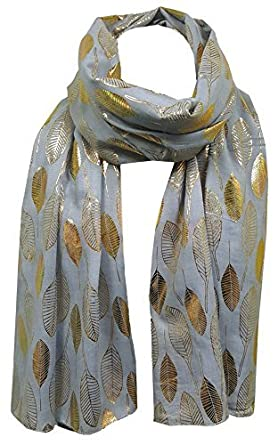 60aa52557 World of Shawls Moonlit Gold Feather Large Scarf For Ladies Womens Shawl  Scarf Wrap Soft Scarves