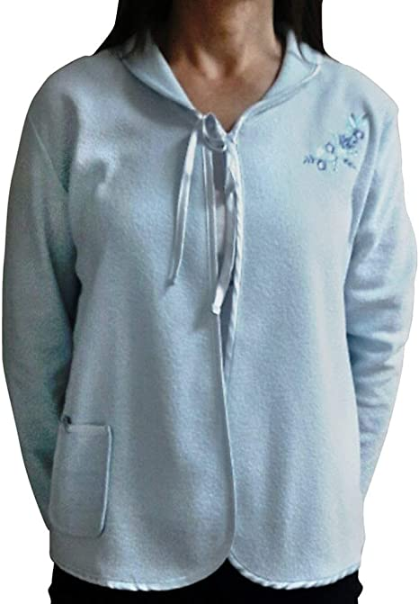20//22 LADIES  FLEECE LONG SLEEVED BLUE  BUTTON FRONTED BED JACKET SIZE