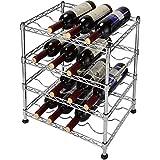 SortWise ® Classics 16-Bottle Stackable Wine Rack, 4-Tier Wine Storage Organizer, Free Standing Wine Display Shelf