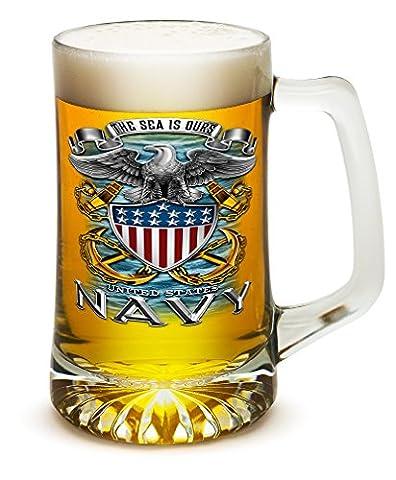 25 Ounces Tankard NAVY Full Print Eagle, Set of Beer Mugs with Handles – US Navy 25 oz Tankard Beer Mug – Full Print Eagle Beer Glass with Logo (25 - Navy Stein