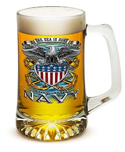 25 Ounces Tankard NAVY Full Print Eagle, Set of Beer Mugs with Handles - US Navy 25 oz Tankard Beer Mug - Full Print Eagle Beer Glass with Logo (25 Ounces) ()