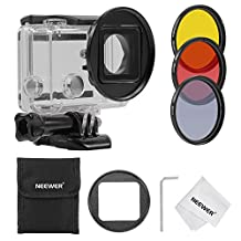 Neewer 52MM Filter Kit for Gopro Hero 3+/4,Kit includes: (3)Filters (ND4 + Yellow + Red) + (1)52mm Lens Filter Ring Adapter + (1)Microfiber Cleaning Cloth + (1)Filter Carrying Pouch