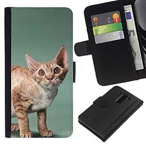 Javanese Devon Rex Big Ears Cat - la tarjeta de Crédito Slots PU Funda de cuero Monedero caso cubierta de piel LG G3