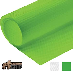 Gorilla Grip Premium Antibacterial Refrigerator Shelf Liner, Non Adhesive Roll, 59 Inch x 17.7 Inches, Durable Fridge Liner Mat, Kitchen Fridge Mat Pad for Fruit and Vegetable Drawers, Fridges, Green