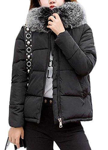 Jacket Hooded Fur Long Down Black Sleeve Puffer Brd Hot UK Faux Womens Short Collar 8xHqZn7wTg